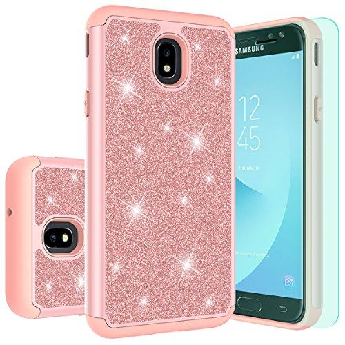 Protector Stars Design Case (Galaxy J3 2018 Case J3 Eclipse 2/J3 Orbit/J3 Achieve/j3 Express Prime 3/J3 Prime 2/Amp Prime 3/j3 emerge 2018 Case with HD Screen Protector,Thinkart Glitter Shiny Hybrid Protective Design (Rose Gold))