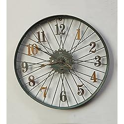ZHENAI Vintage Iron Woll Clock Bicycle Tire Wall Clock Metal Wall Wall Decoration Quiet Battery Wall Clock Office
