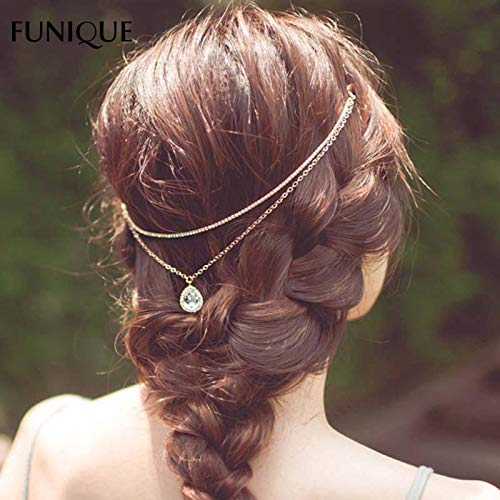 Lindsie-Box - Fashion Headbands Oval Shaped Charm Link Chain Headbands Hairwear Bride Jewelry Findings For Wedding Party New