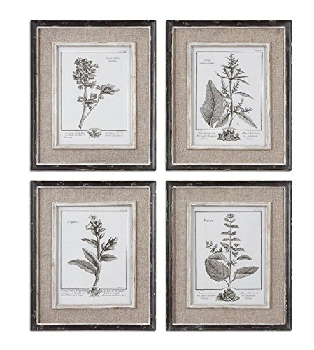 Antique Style Botanical Wall Art Prints | Grey Flowers Burlap Framed (Art Framed 1' Print)