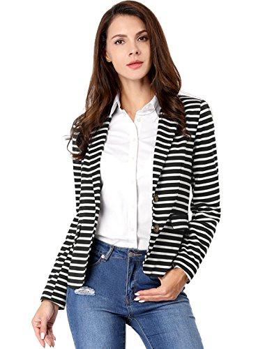 Allegra K Women's Notched Lapel Pocket Button Closure Striped Blazer 15