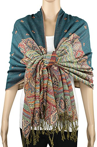 Achillea Soft Silky Reversible Paisley Pashmina Shawl Wrap Scarf w/Fringes 80
