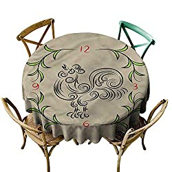 familytaste Animal,Summer Outdoor Tablecloth Floral Swirls Rooster Clock D 50 Round Tablecloth
