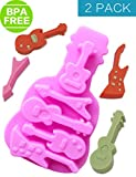 Chocolate Molds & Candy Molds, 2 Pack Guitars Toys Silicone Molds, Party Cake Decoration, BPA Free