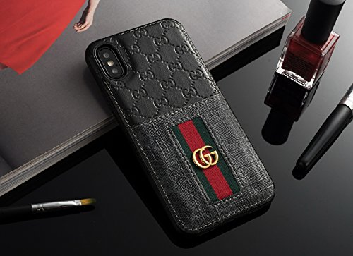 the latest 75a9c 1beba Luxury Designer GG Style Card Wallet Cover Case for iPhone X XS 10 10S  (Black)