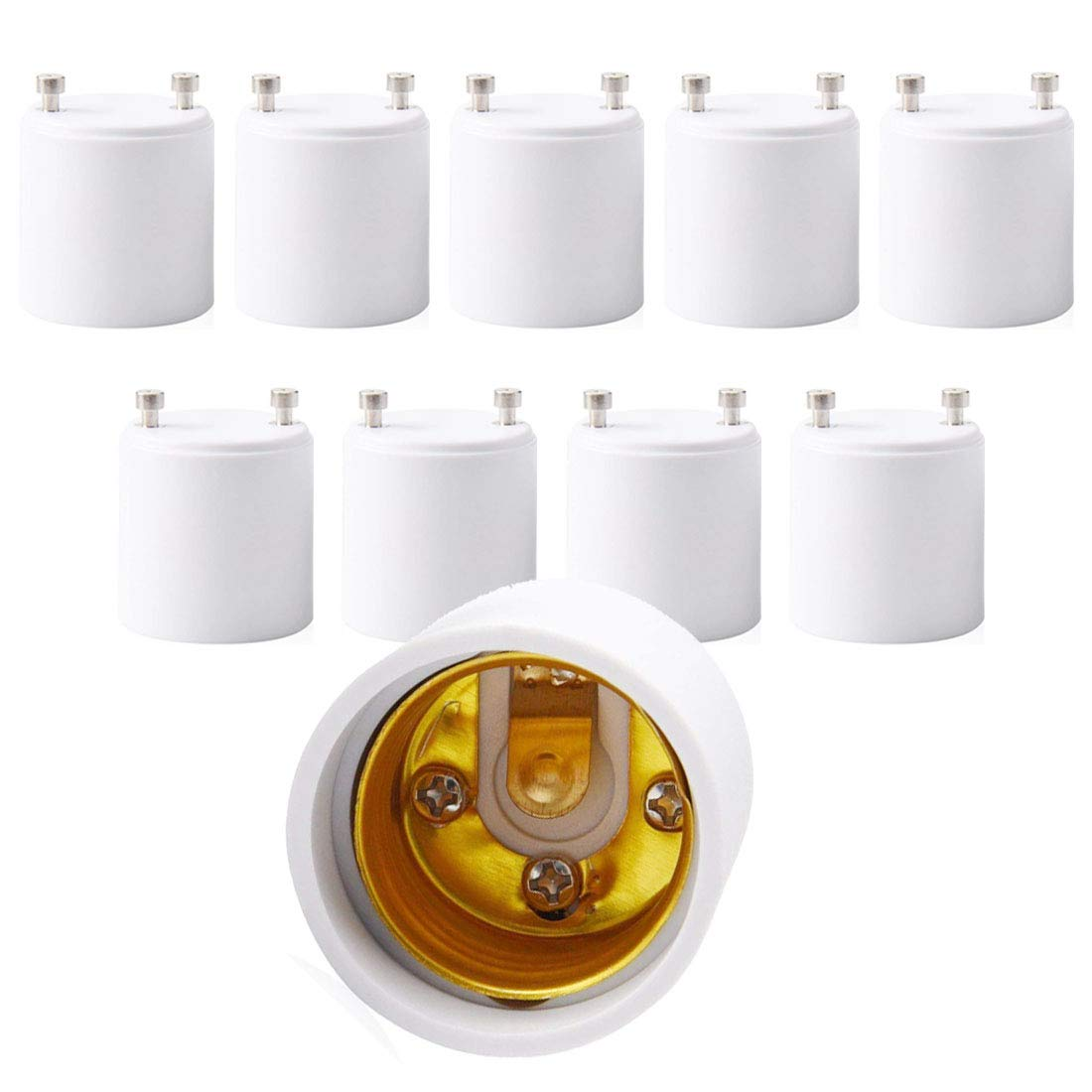 GU24 to E26 Light Bulb Socket Adapter, Lamp Base Converter, Maximum Wattage 150W, Heat Resistant Up to 200℃, Fire Resistant, Converts Pin Base to Screw-in Socket.(Pack of 10)