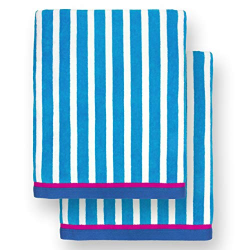 Ben Kaufman - Oversized 40 X 70 Stripe Color Velour Super Soft Beach and Pool Towel Set of 2 Pieces Easy Care, Extra Large (Pacific Blue)