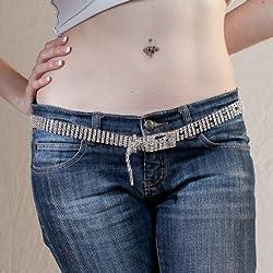 Rhinestone Crystal Silver Tone Belly Chain Belt