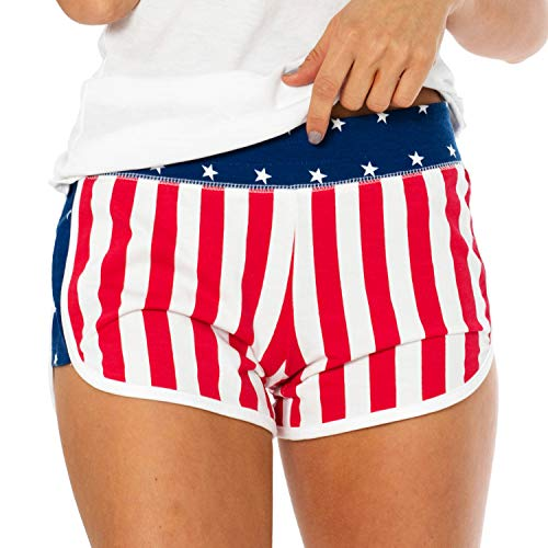 VBRANDED Women's American Flag Sporty Shorts Small - T-shirt Womens American Cut