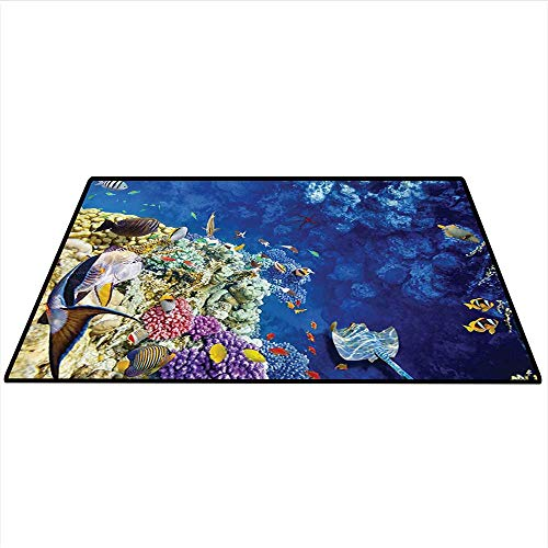 Ocean Decor Collection Area Rug Carpet Untouched Wild Underwater Aquatic World with Corals Exotic Fishes Stingray Seascape Print Art Door mat 4'x5' (W120cmxL150cm) Navy Blue Purple