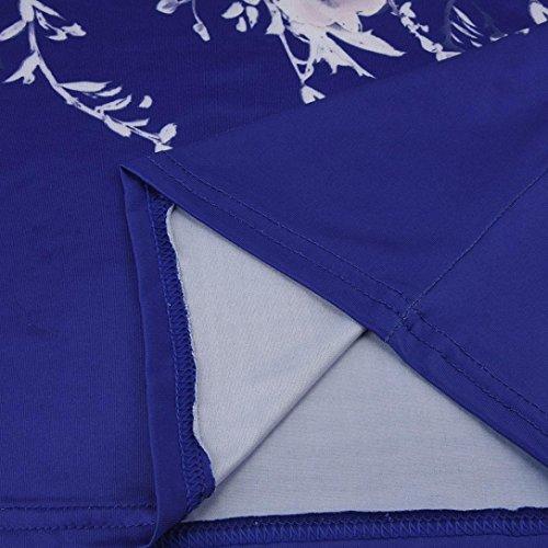Mujer Redondo Impreso Vestidos Venta de Señoras Azul Sexy Noche túnica Vendimia Vestido Mangas Verano Vestidos Cuello Floral Sin Lonshell Caliente para de Bodycon Mujer PF4dxP