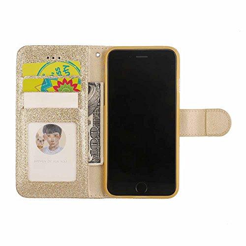 6 Luxe Fermeture Or Retourner Conception Cuir Pour magnétique stand Diamant Coque amour 6s Apple Iphone Portefeuille Étui Bling vxIt1