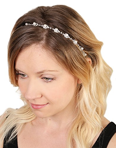 Funky Junque Elegant Bridal Festival Pearl Rhinestone Crystal Elastic Headband