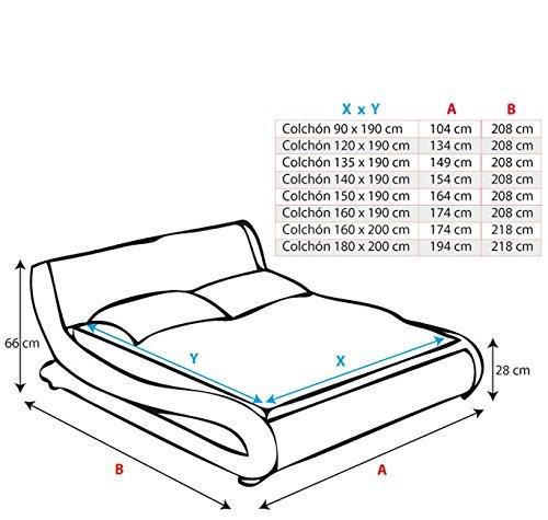 muebles bonitos Cama de Matrimonio de Polipiel Moderna Alessia para colchón de 150 x 190 cm Negro con somier de Laminas Incluido: Amazon.es: Hogar
