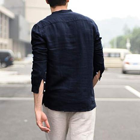 Camicia Uomo Lino Manica Lunga,TTMall Camicia Uomo Coreana Taglie Forti Camicie a Maniche Lunghe da Uomo Camicia Classica in Fibra di bamb/ù