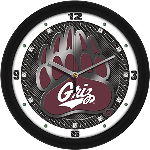 NCAA Montana Grizzlies Textured Carbon Fiber Wall Clock