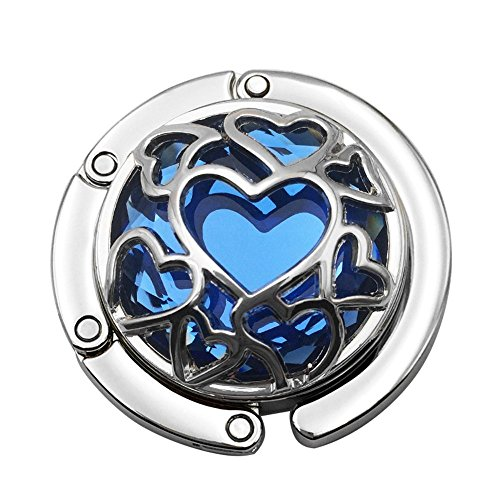 Grtdrm Multiple Hearts Style Premium Foldable Handbag Bag Purse Hanger Table Hook Holder (Blue)
