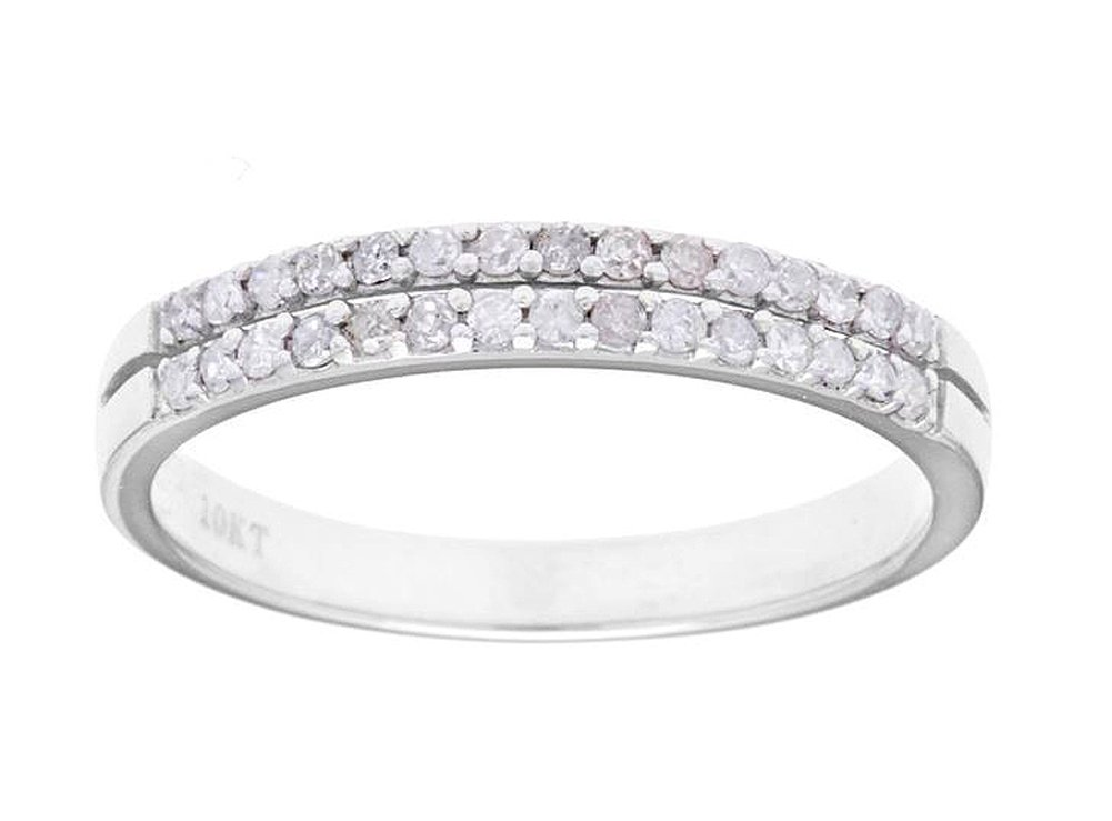 10k White Gold Double-Row Diamond Anniversary Wedding Band Ring (1/4 cttw, I-J Color, I2-I3 Clarity)