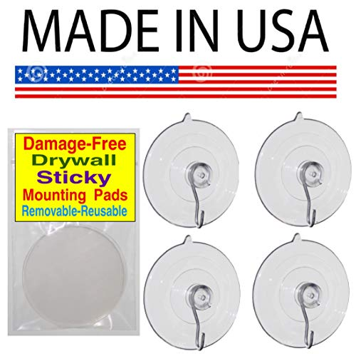 uction Cup Hooks for Windows 2 ½ inch diameter-Plus Bonus 4 Drywall Sticky Pads for Mounting on Drywall. Holds up to 7 lbs. (DAMAGE-FREE REMOVABLE AND REUSABLE) Mounting on Light t ()