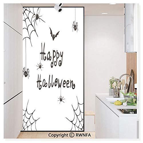 Window Door Sticker Glass Film,Happy Halloween Celebration Monochrome Hand Drawn Style Creepy Doodle Artwork Anti UV Heat Control Privacy Kitchen Curtains for Glass,30 x 59.8 inch,Black White -
