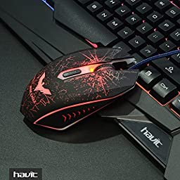 HAVIT Rainbow Backlit Wired Gaming Keyboard and Mouse Combo (Black) [Upadated Version]