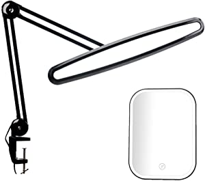 LED Task Lamp with Clamp, Bright 117PCS Lights, Metal Swing Arm, 2200 Lumens Dimming Work Lamp for Office Home Reading Dorm Workbench, 23 Inch Wide Table Light with a Free Hand Held Magnifier