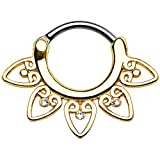 Septum Clicker Tribal Fan Clear Gems Round Septum Ring (16g Gold)