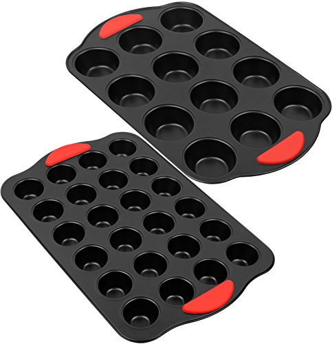 Galashield Nonstick Muffin Pan | 12 Cup Regular and 24 Mini Cup with Silicone Grip (2 Piece Set)