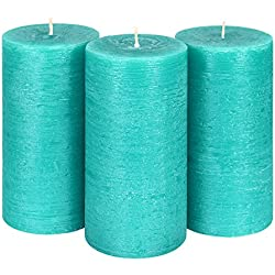 "Candle Atelier Turquoise Sea 3"" x 6"" Handmade Pillar Candles, Fragrance-free, Set of 3"