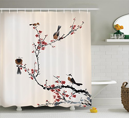 House Decor Shower Curtain Set By Ambesonne, Stylized Blooming Japanese Cherry Tree Watercolor Painting Effect Artistic Design Print, Bathroom Accessories, 75 Inches Long, Ruby Light Caramel (06 Caramel)