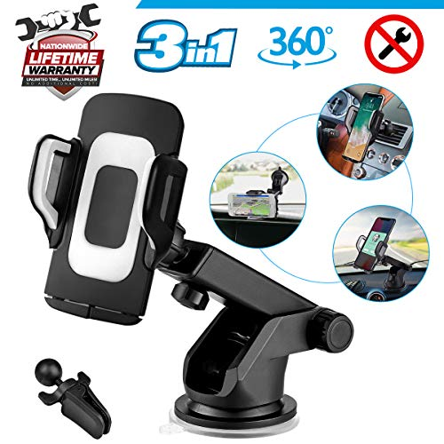 Car Phone Mount, 3-in-1 Cell Phone Holder Smartphone Car Air Vent Mount Holder Cradle Dashboard Mount Windshield Mount 360°Adjustable Rotating Cell Phone Mount for iPhone Samsung Google Huawei (Best 3 Inch Smartphone)