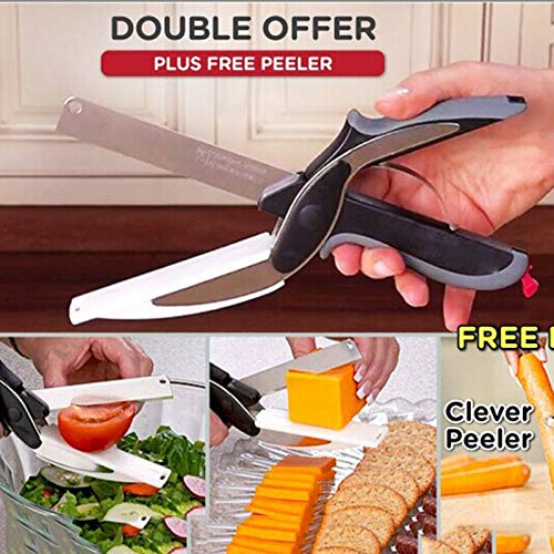 Gano Zen New Multi-Function Smart Clever Cutter Scissor 2 in 1 Cutting - Board Utility Cutter Stainless Steel Ourdoor Smart - Vegetable Knife