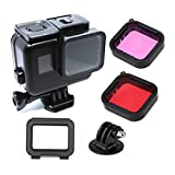 Gopro Hero (2018) / 6/5 Black Accessories, with Underwater Waterproof Dive Protective Housing Case Bracket and GoPro Filter (Red + purple)