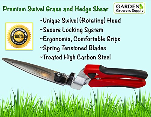 Grass Hedge Shear Scissors Trimmers- Steel, Premium Swivel Smooth Cutting Action, Rotating Head Reaches Multiple Angles. Versatile Trimmer
