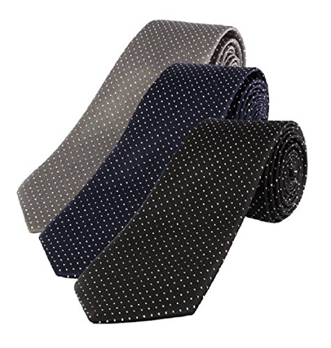 Michelangelo Men's Self Design Micro Fiber Tie (Multicolour) – Combo Pack of 3