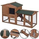 "Tangkula 58"" Rabbit Hutch Chicken Coop Wooden Bunny Animal Hen Cage Backyard Garden"