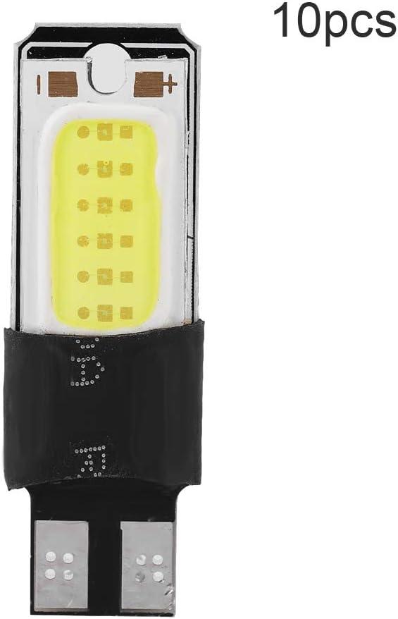 10pcs W5W COB voiture LED ampoule dindicateur pour la lampe de largeur de lecture plaque dimmatriculation Lighgt carte d/ôme de porte de porte feux de c/ôt/é marqueur lat/éral Aramox T10 LED ampoules
