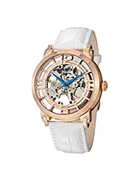 Stuhrling Original 165B2.334P14 Mens Automatic Skeleton Rose Tone Case and Dial on White Leather Strap