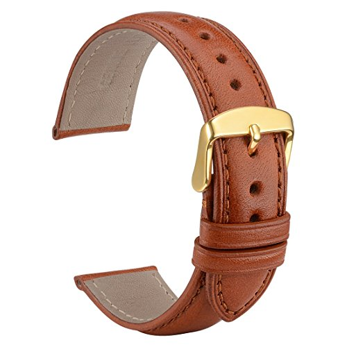 WOCCI Untextured Leather Watch Strap with Gold Buckle, 22mm Watch Band for Men Women (Red Brown) (Gold Mens Watches Leather Brown)