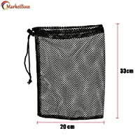 MarketBoss 2Pcs Durable Nylon Mesh Nets Bag Pouch Golf Tennis Ball 50 Balls Carrying Holder Storage Drawstring Closure Bag