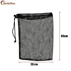 MarketBoss 2Pcs Durable Nylon Mesh Nets Bag Pouch Golf Tennis Ball 50 Balls Carrying Holder Storage Drawstring Closure Bag