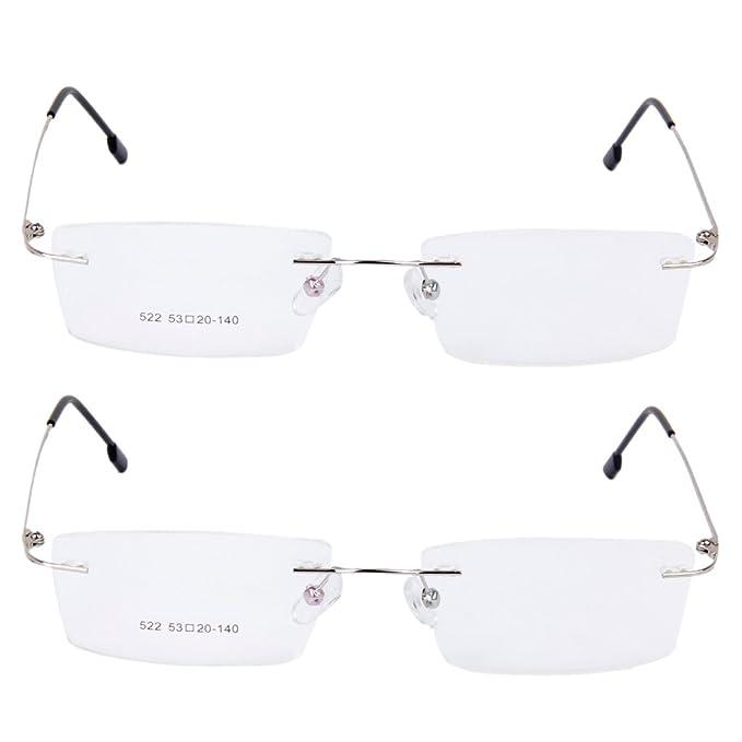 Gazechimp 2 Piezas Moda Gafas sin Montura de Metal Marco de Lentes ...