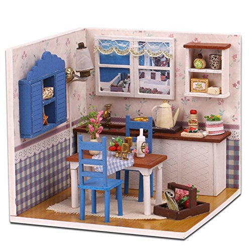 M-005 Miniature Doll H ouse DIY Handmade Wood Combination Warm Home Dollhouse Model Kit With Furniture Kid Birthday Gift (Model Kids Furnitures)