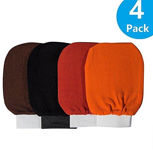 4 Pack Exfoliating Hammam Gloves Mitten Remove Dead Skin Bath Body Scrub Mitt, Deep Exfoliation Glove Skin Exfoliator Mitt.