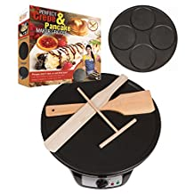 Perfect Pancake and Crepe Maker Machine, 2 Interchangeable Non-Stick Electric Griddle Pans, Includes Wooden Spreader, Spatula, Turner, Batter Mix Starter Recipes