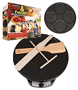 Perfect Crepe Maker and Pancake Maker, Crepe Pan with 2 Interchangeable Non-Stick Electric Griddle Pans, Includes Wooden Spreader, Spatula, Turner, Batter Mixer