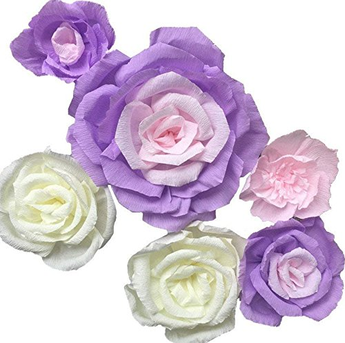 Fonder Mols Large Crepe Paper Flowers Decorations Set of 6 Ivory Lanvender Pink, Handcrafted Paper Flowers for Wedding Wall Hanging Backdrop Baby Shower Nursery Home Decor (NO DIY)