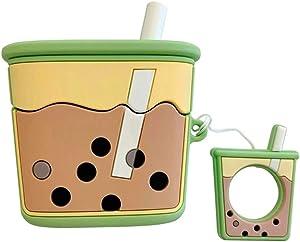 Boba Tea AirPods Pro Case, AKXOMY Cute Milk Tea Airpods Pro Case,3D Kawaii Protective Silicone Cover Case for Apple Airpods Pro Case for Girls Kids Boys (Milk Tea-Green)