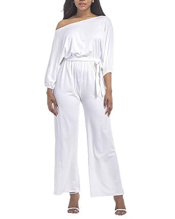 Femme Bodysuit Jumpsuit Combinaisons Maxi Pantalons Casual Épaule Dénudée  Plage Cocktail Soirée Rompers Blanc 2XL a72d4306f12a