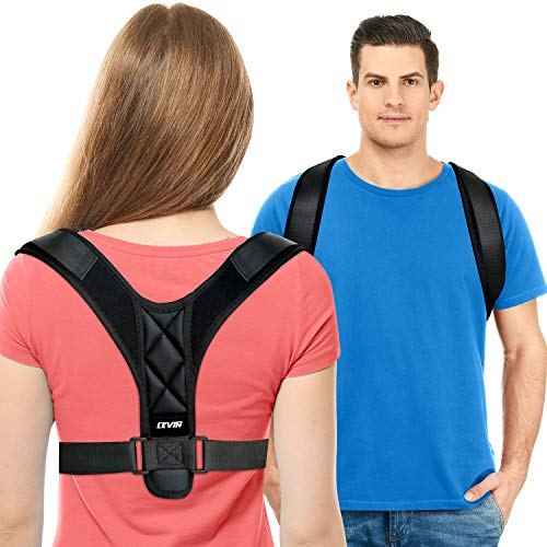 Posture Corrector for Women and Men - Upgraded Lengthened Soft Sponge Pad Adjustable Upper Back Brace for Clavicle Support and Providing Pain Relief from Neck